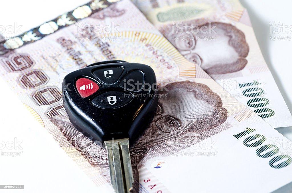money and car keys royalty-free stock photo