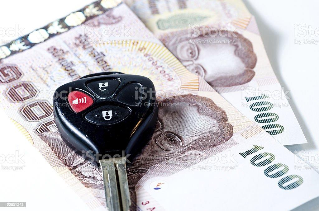 money and car keys stock photo