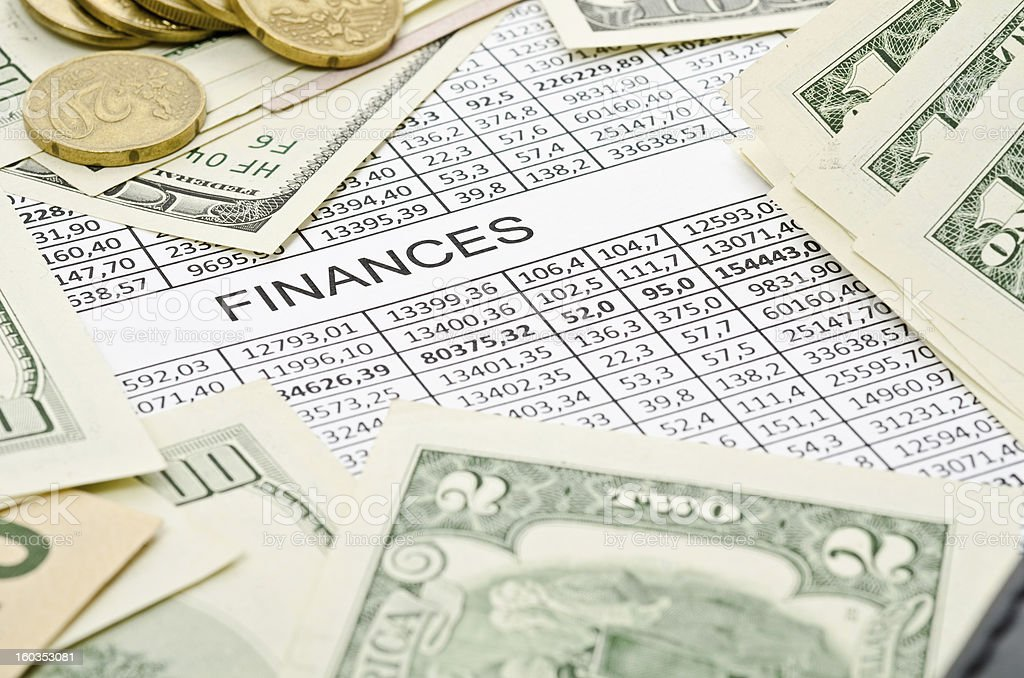 Money and chart royalty-free stock photo