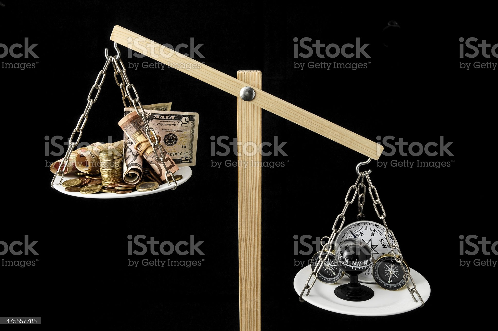 Money and Compass royalty-free stock photo