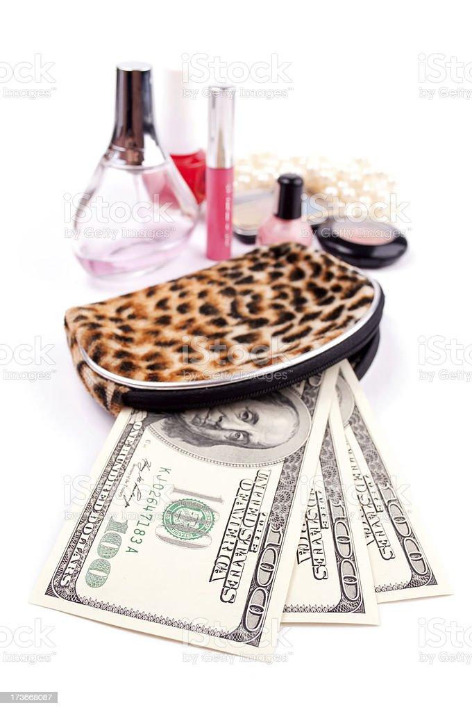 Money and cosmetics royalty-free stock photo