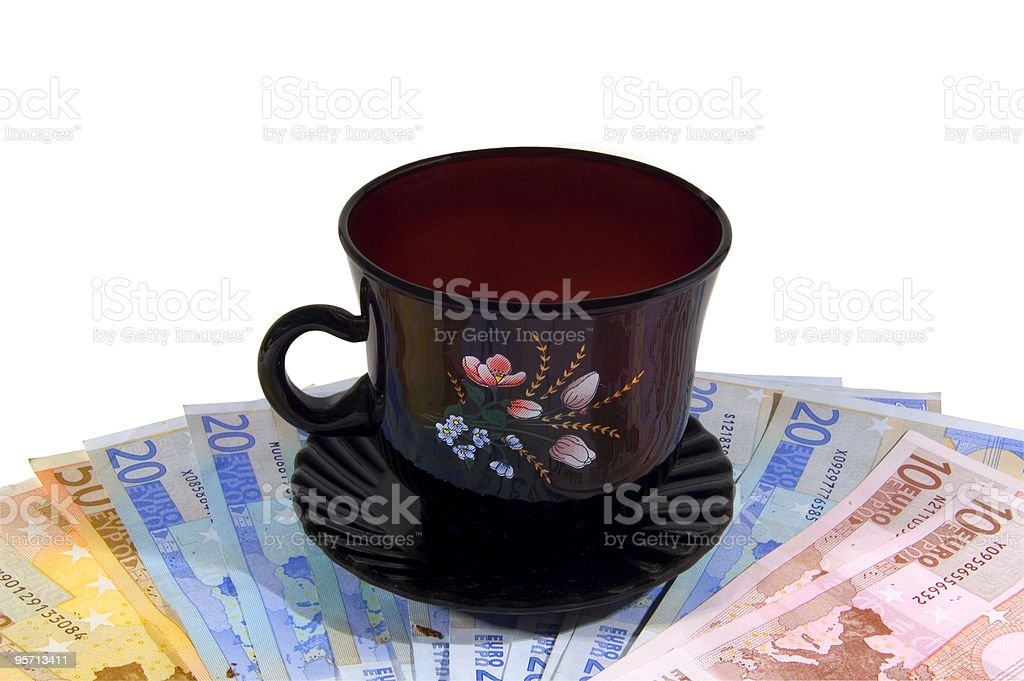 Money and cup stock photo