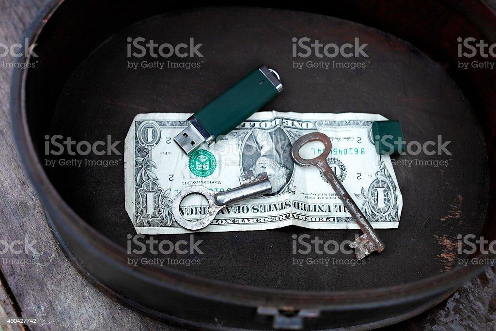 Money And Data Pot stock photo