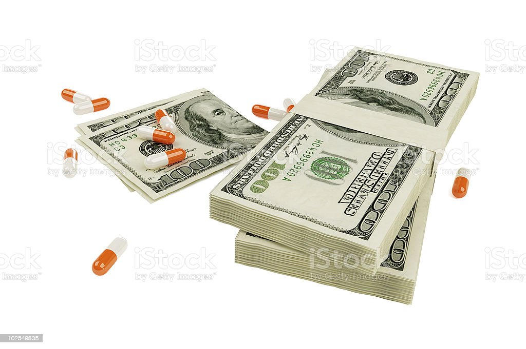 Money and drugs royalty-free stock photo