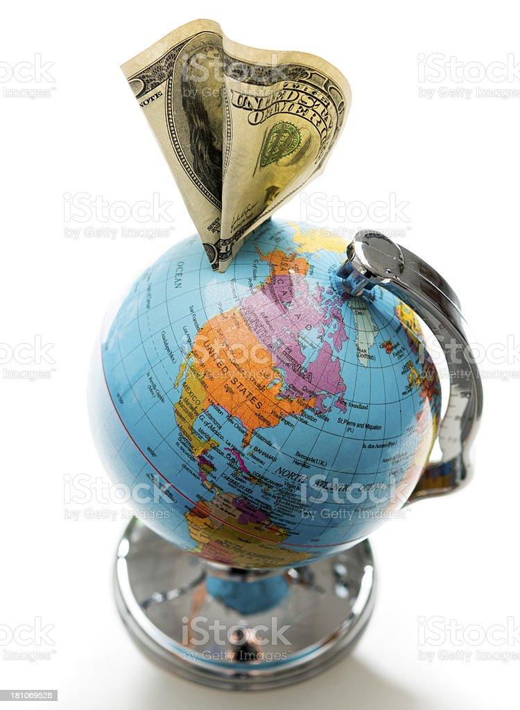 money and earth globe royalty-free stock photo