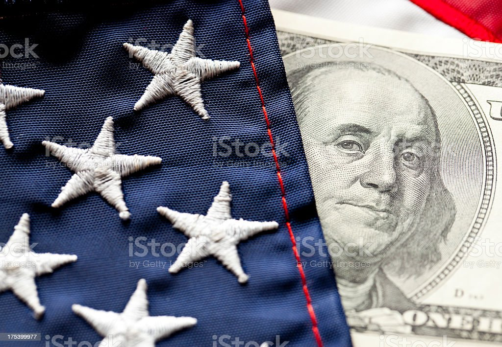 Money and Flag stock photo