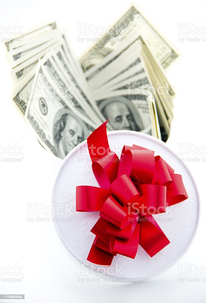 Money and girft box royalty-free stock photo
