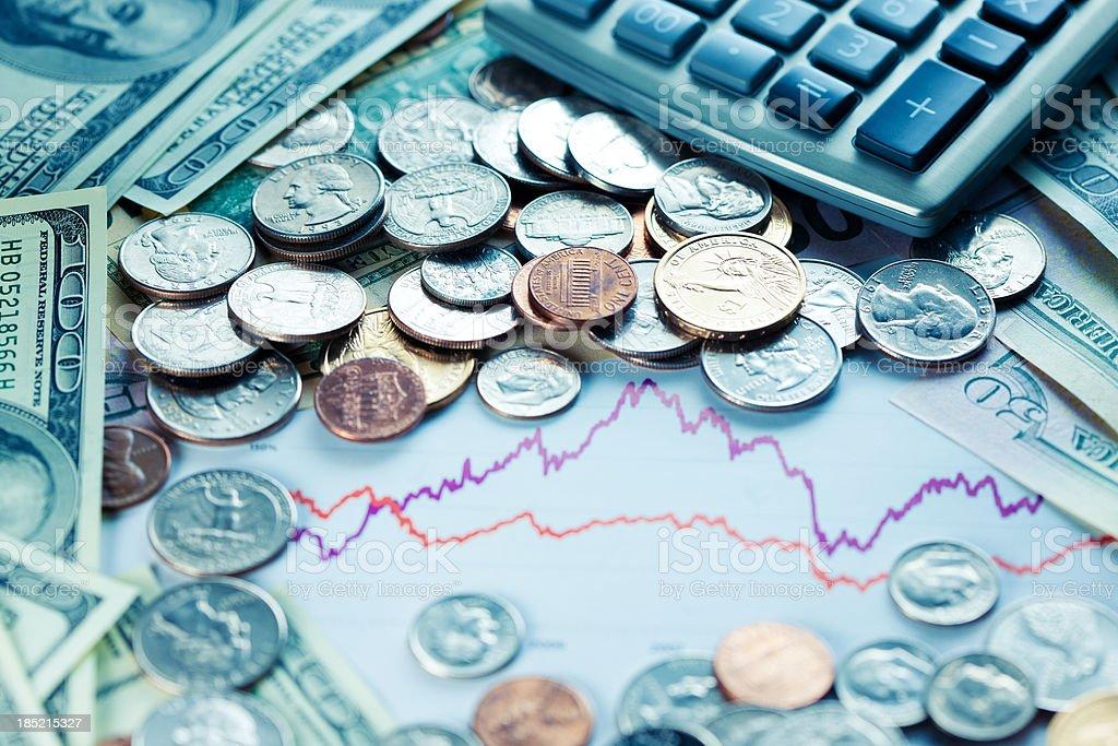 Money and graphics stock photo