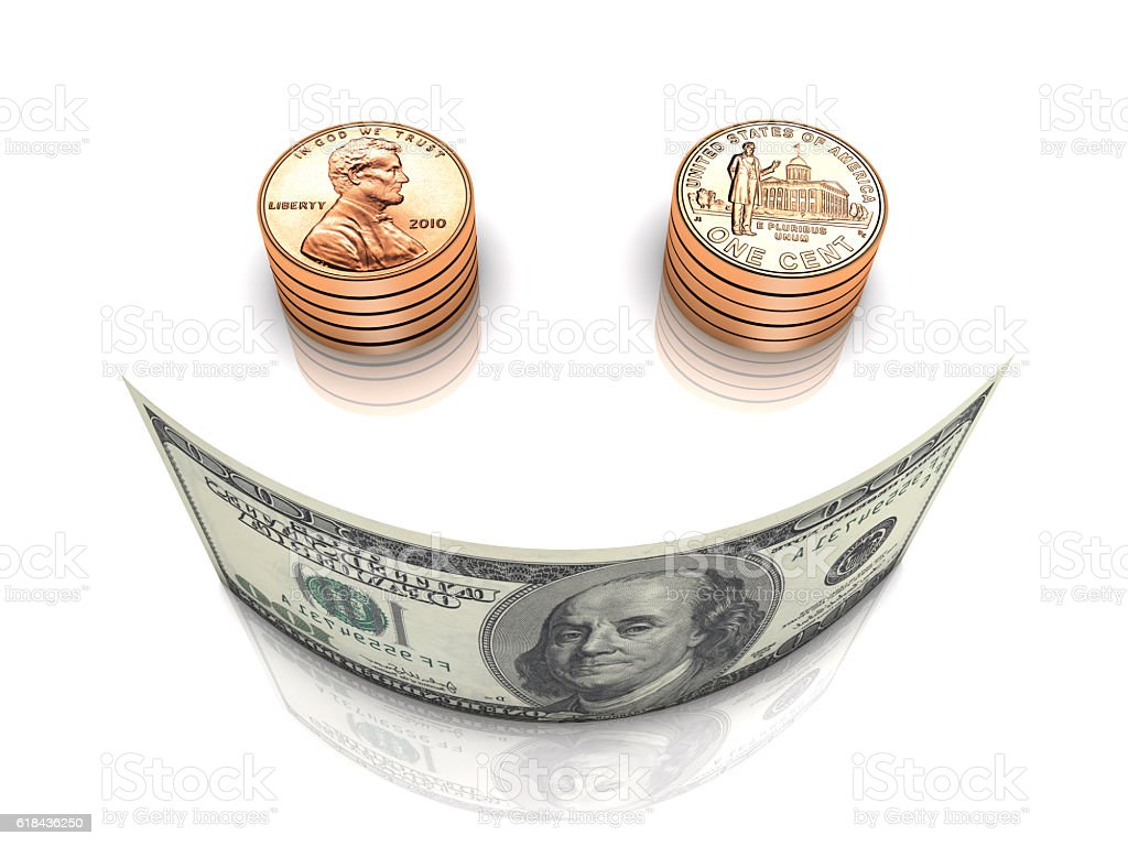 Money and Happiness stock photo