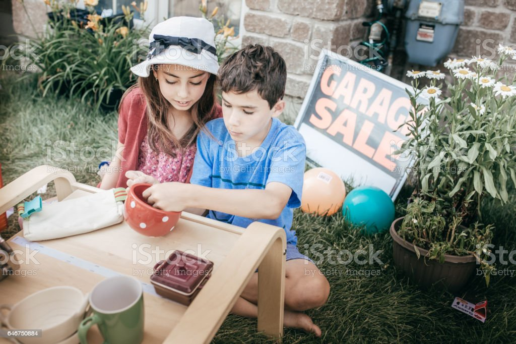 Money and kids stock photo