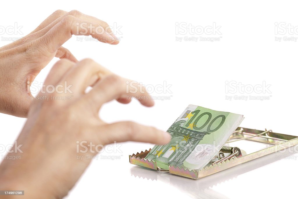 Money and mousetrap royalty-free stock photo