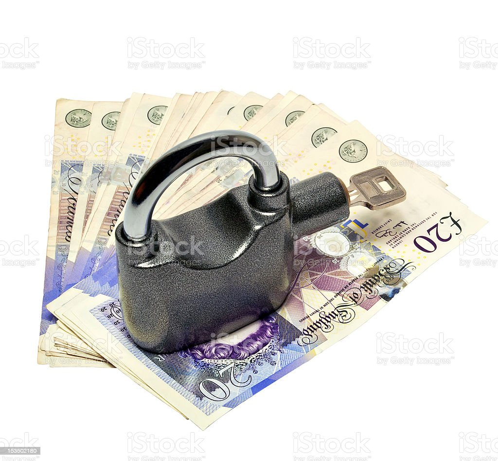 Money and padlock - safety concept royalty-free stock photo