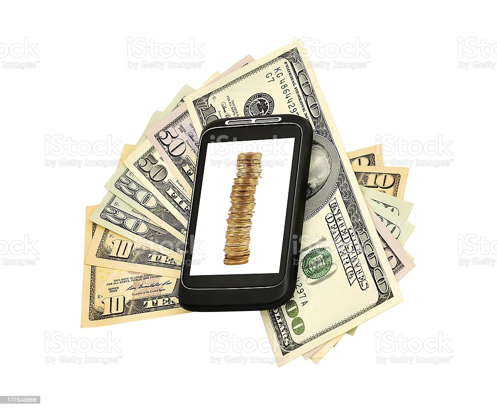 money and phone royalty-free stock photo