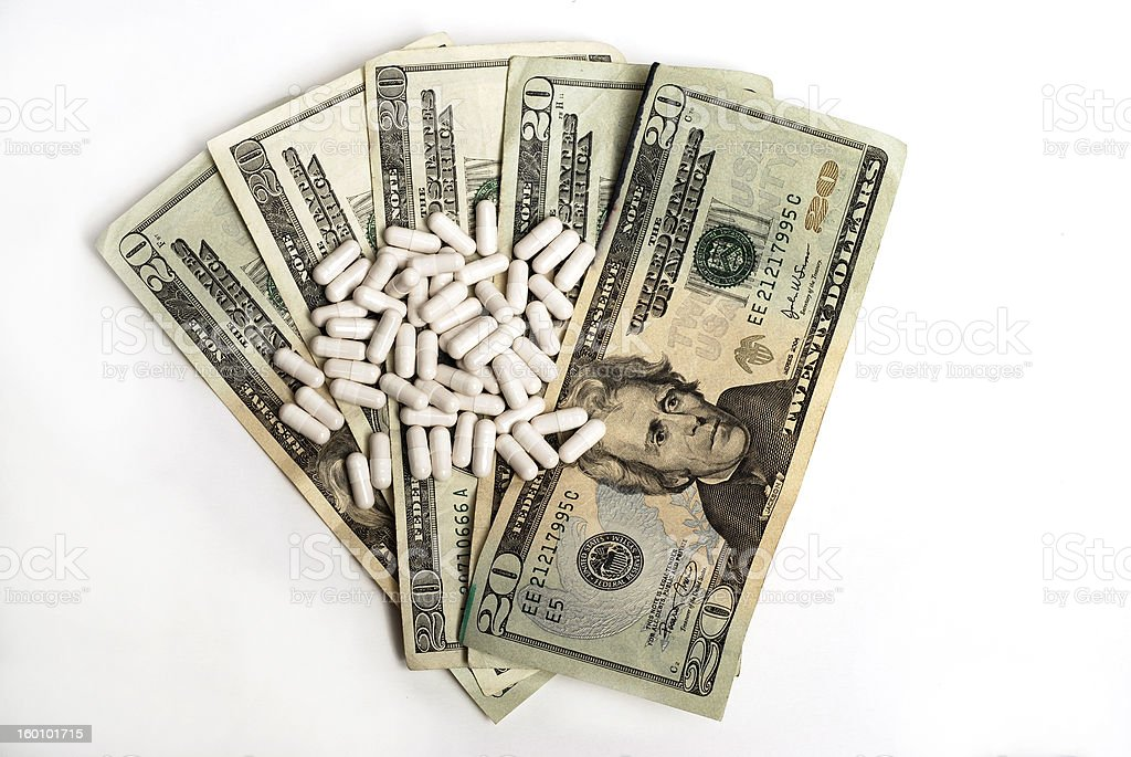 Money and Pills- full view royalty-free stock photo
