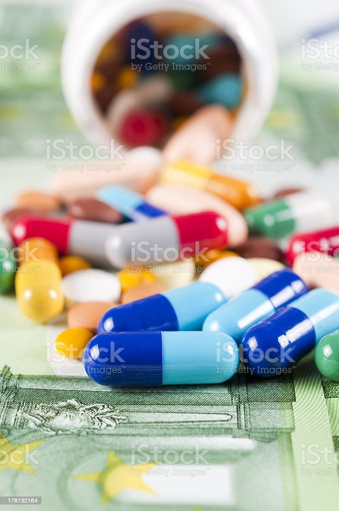 Money and pills royalty-free stock photo