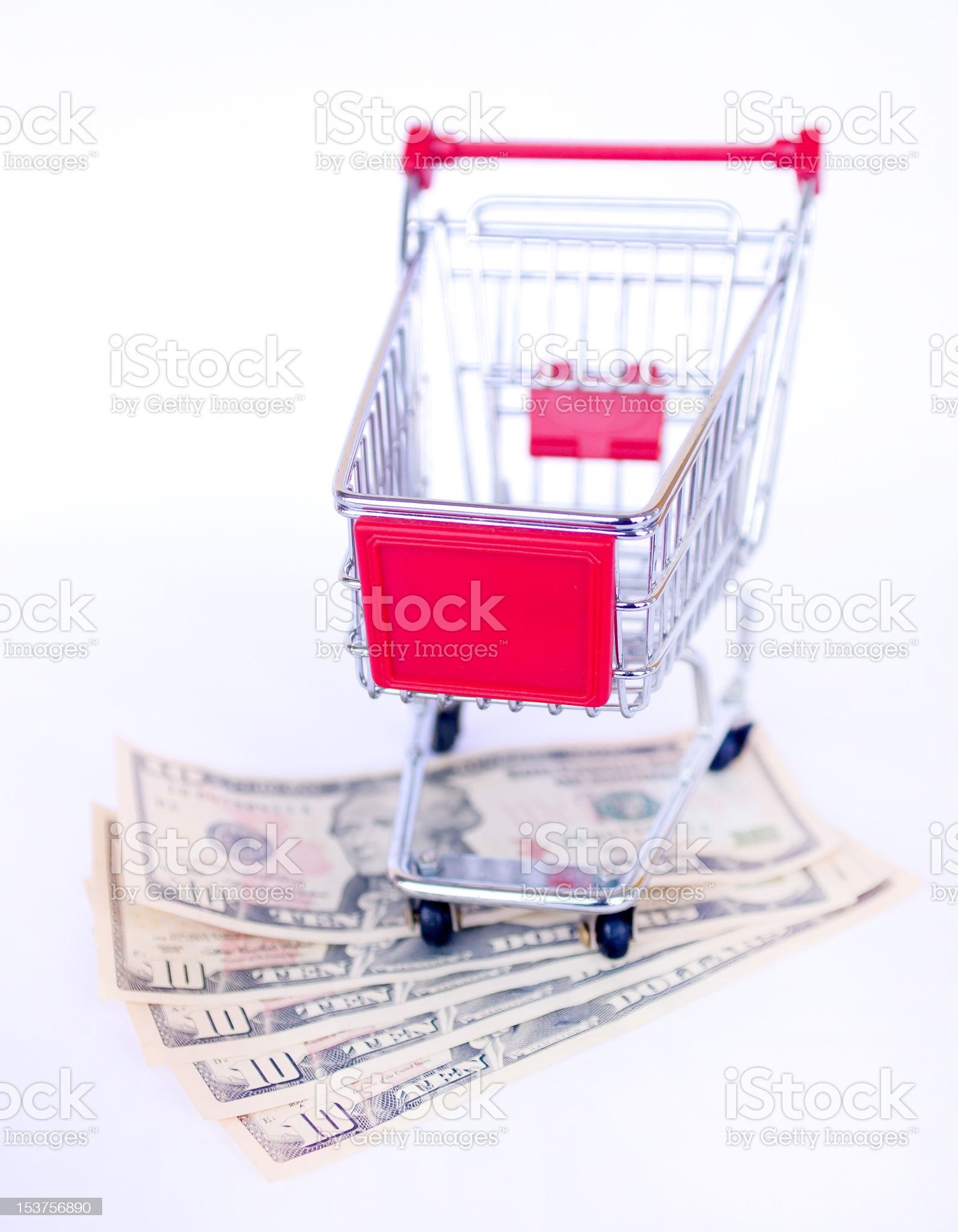 US money and shopping trolley royalty-free stock photo