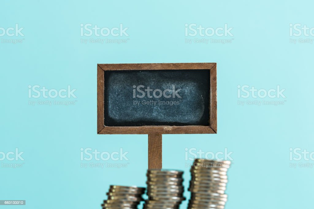 Money and signboard stock photo