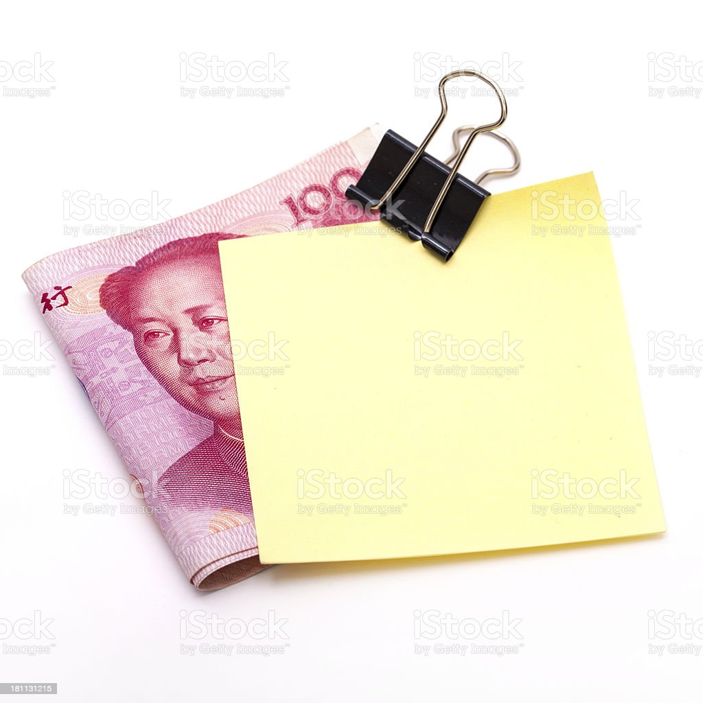 Money and sticky note royalty-free stock photo