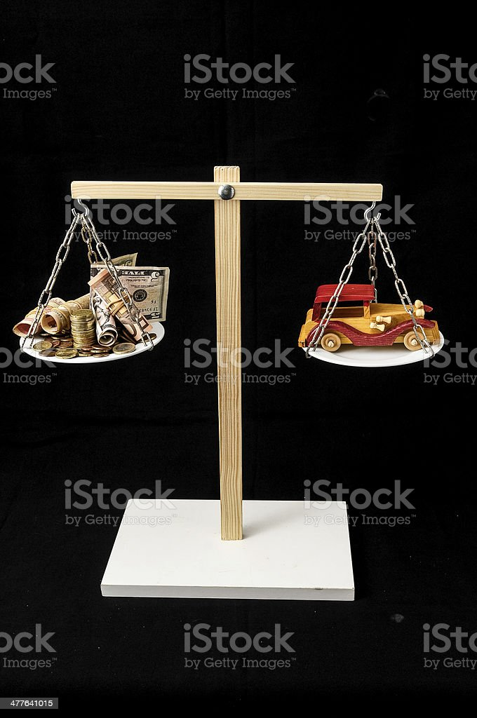 Money and Toy Wooden Car royalty-free stock photo