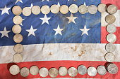 Money and US flag background