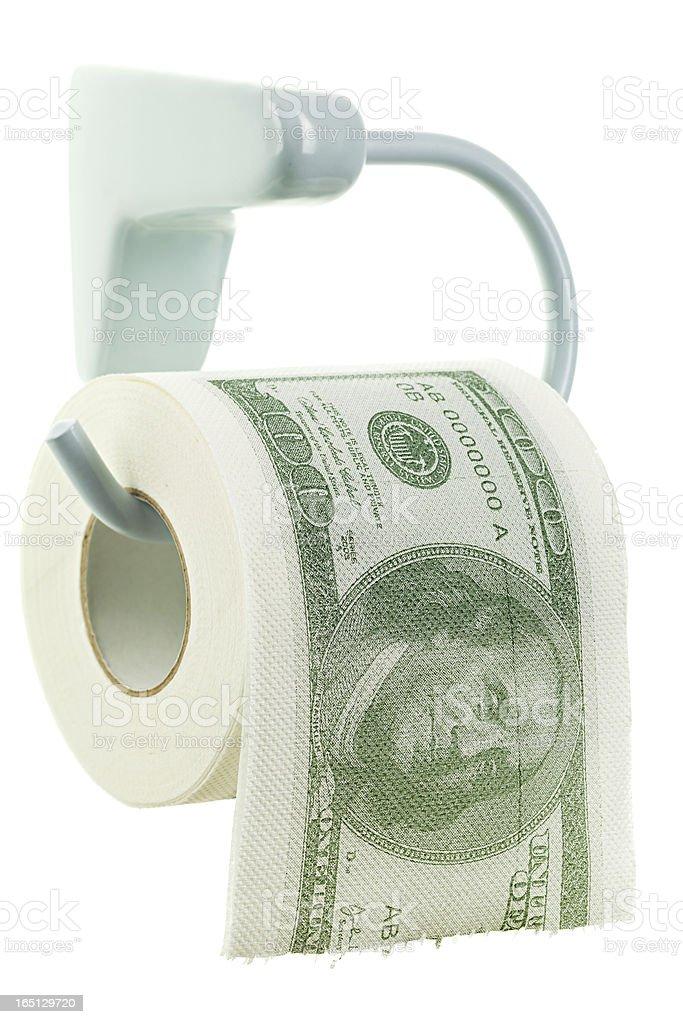Money as toilet paper stock photo