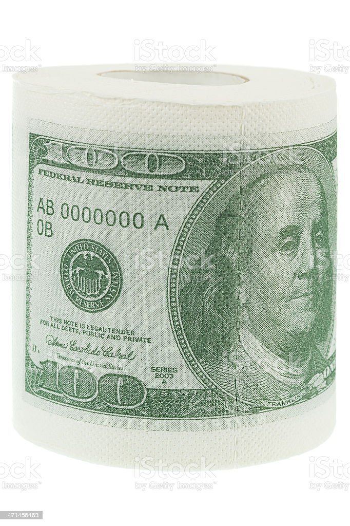 Money as toilet paper stock photo