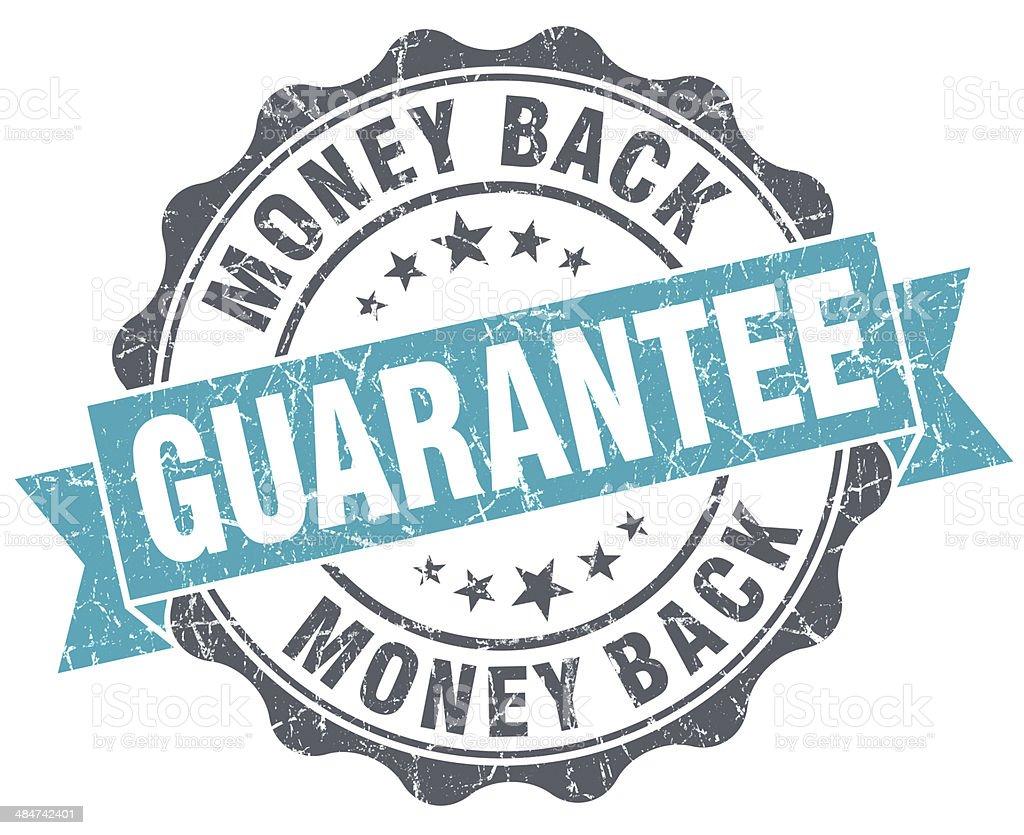 Money back guarantee blue grunge retro style isolated seal stock photo