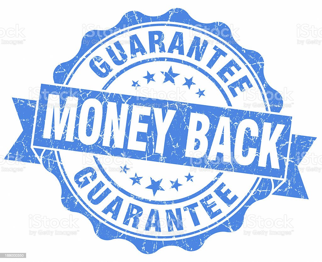 Money Back Guarantee blue seal stock photo
