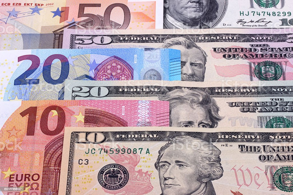Money background american dollars and euro different denominations. stock photo