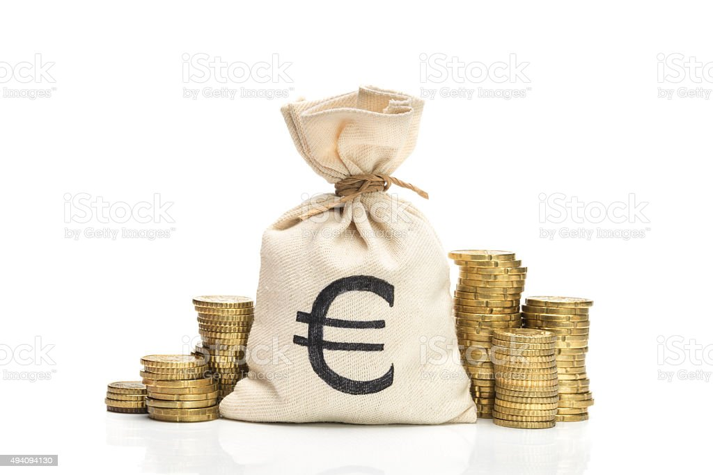 Money bag and Euro coins, isolated on white background stock photo