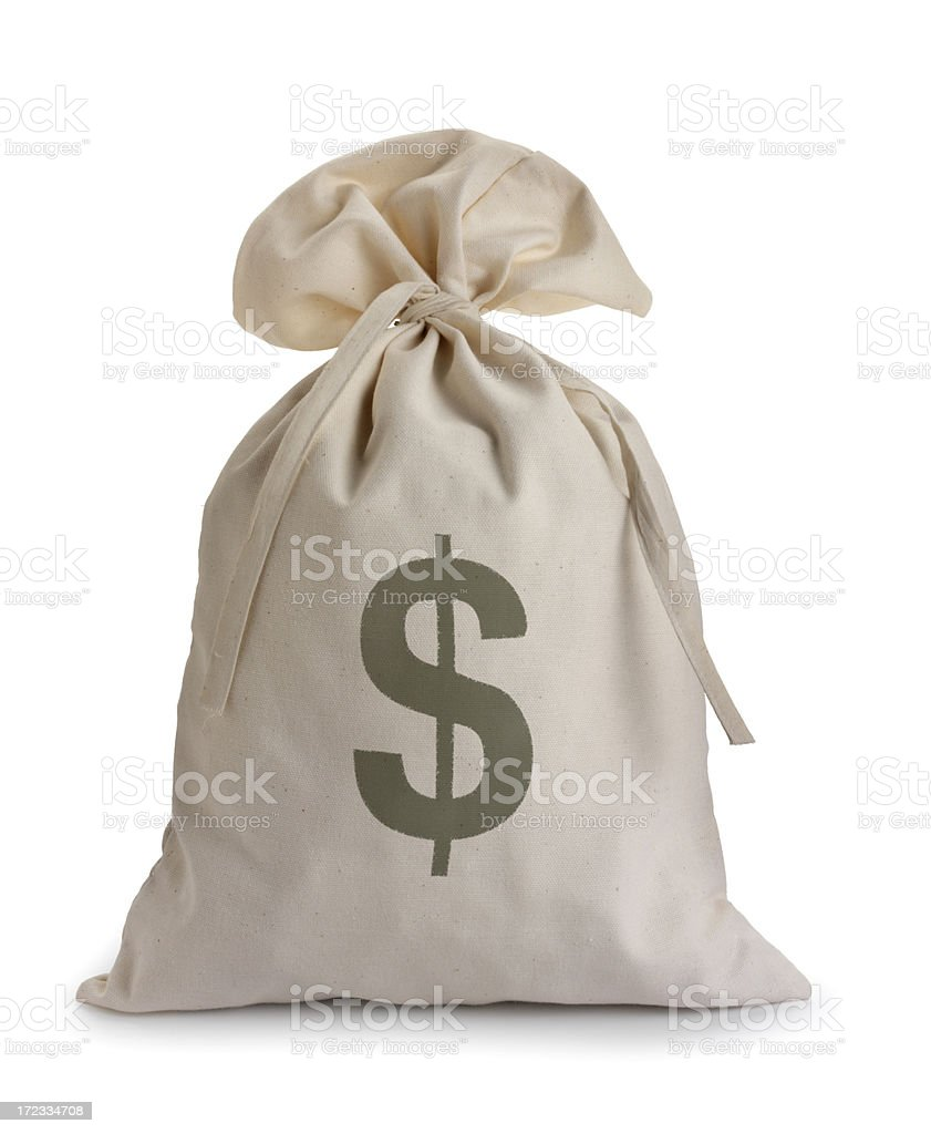 Money bag isolated on a white background stock photo