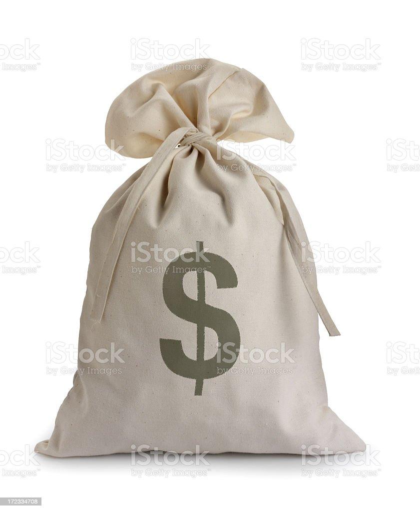 Money bag isolated on a white background stock photo
