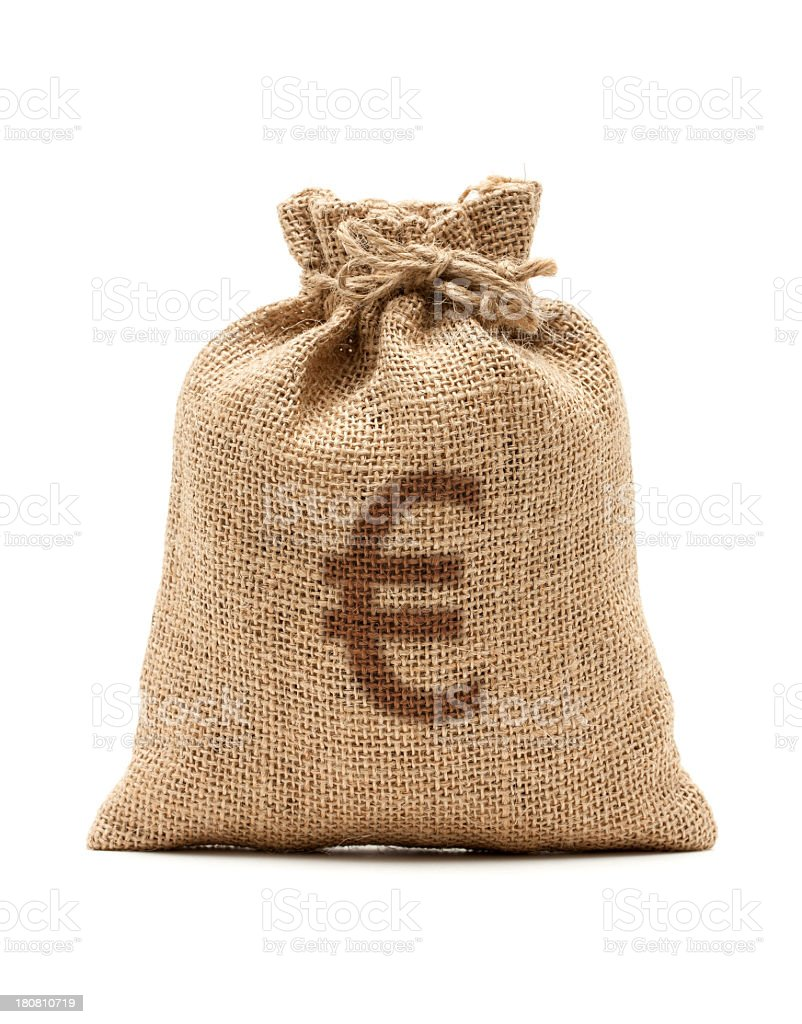 Money Bag with Euro isolated on white background royalty-free stock photo