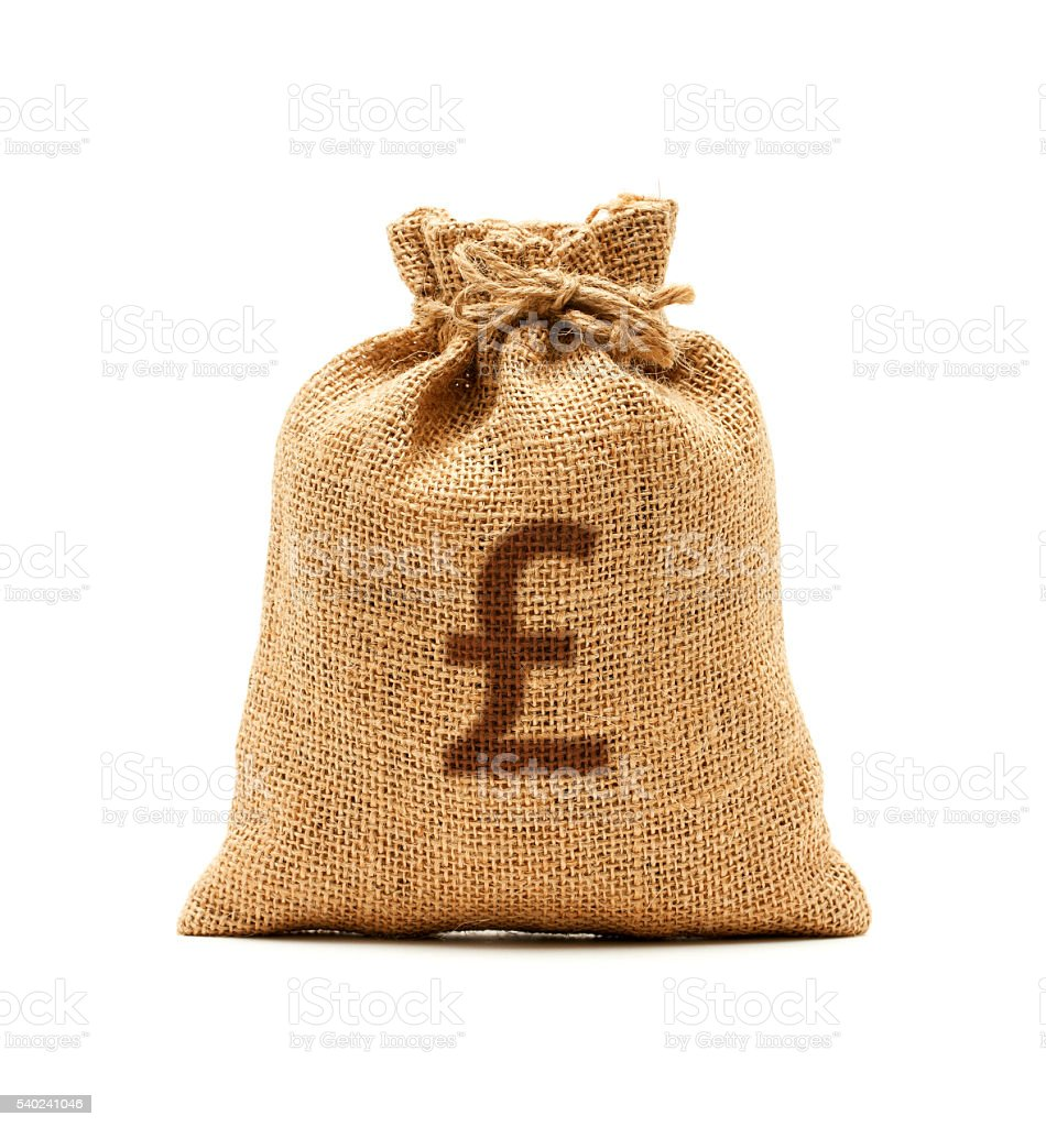 Money bag with Pound Symbol isolated on white background stock photo