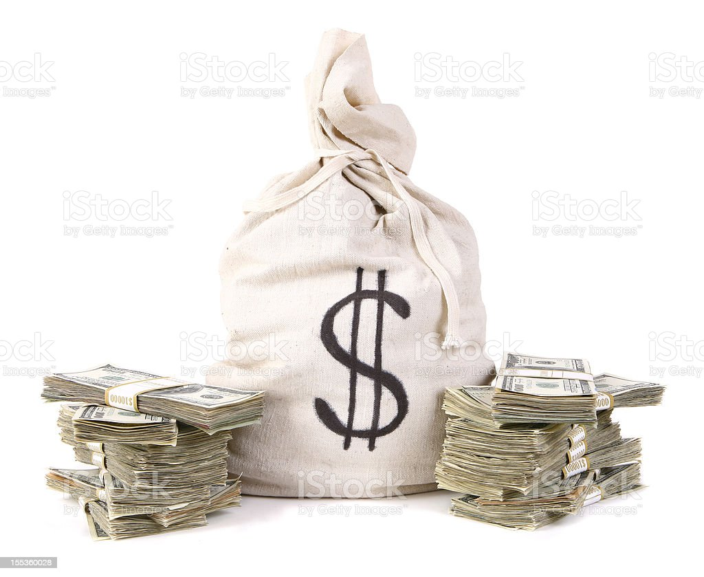 Money Bag with stacks of Cash stock photo