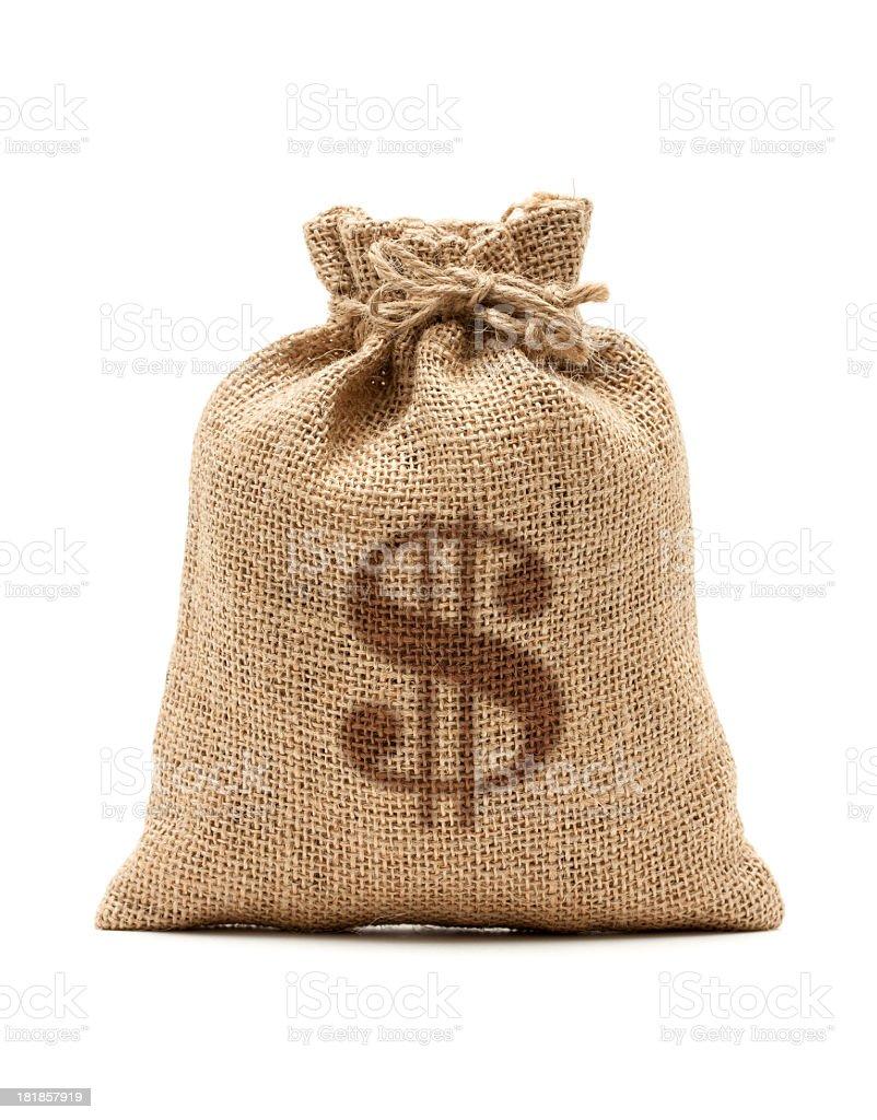 Money Bag with U.S. dollar isolated on white background royalty-free stock photo