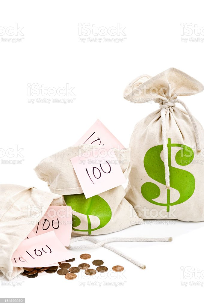 3 money bags with dollar signs and iou notes. stock photo