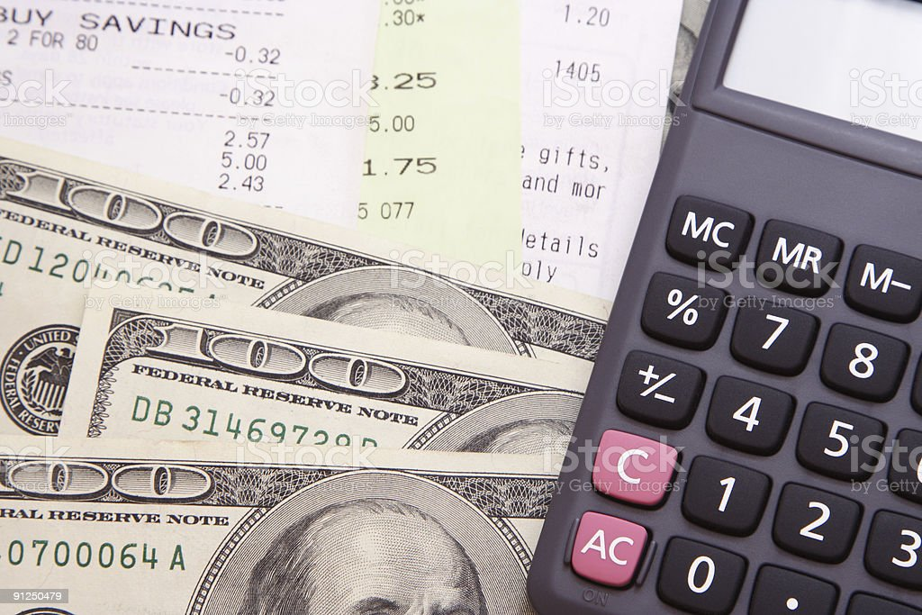 Money, Bills, & Calculator royalty-free stock photo