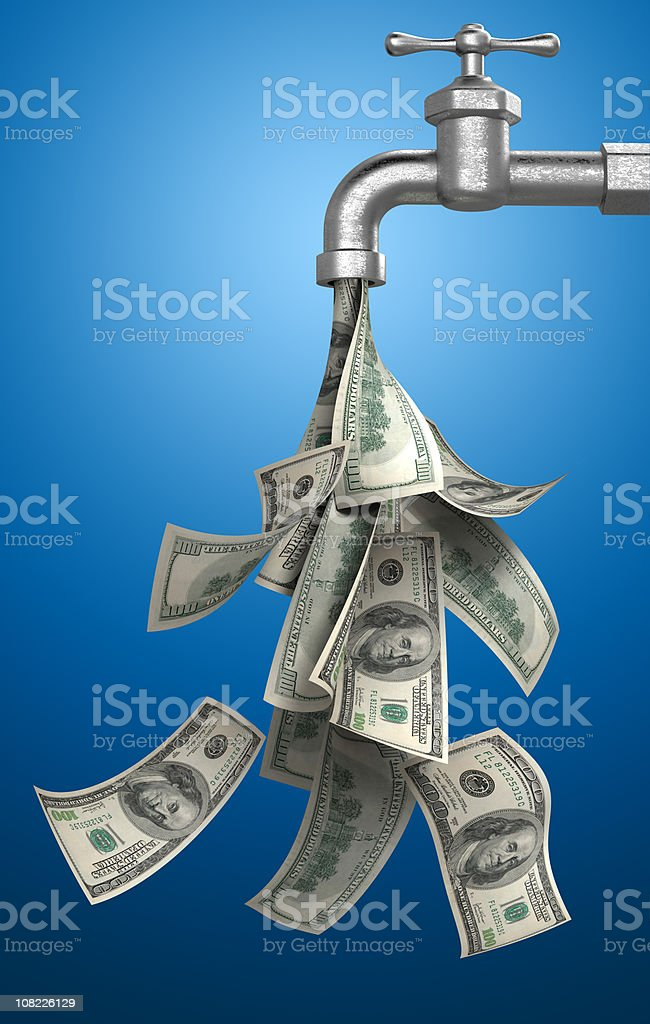 Money Bills Pouring Out of Water Tap on Blue Background stock photo