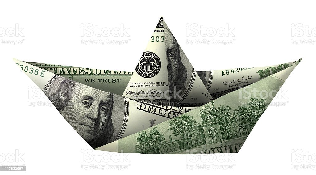 money boat isolated over white stock photo
