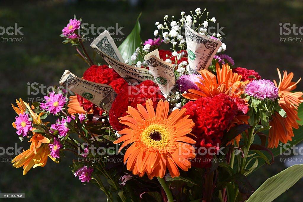 money Bouquet stock photo