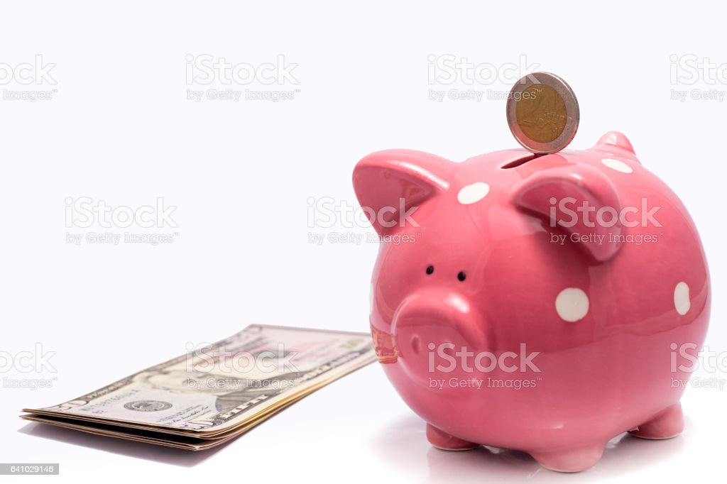 money box and dollars stock photo