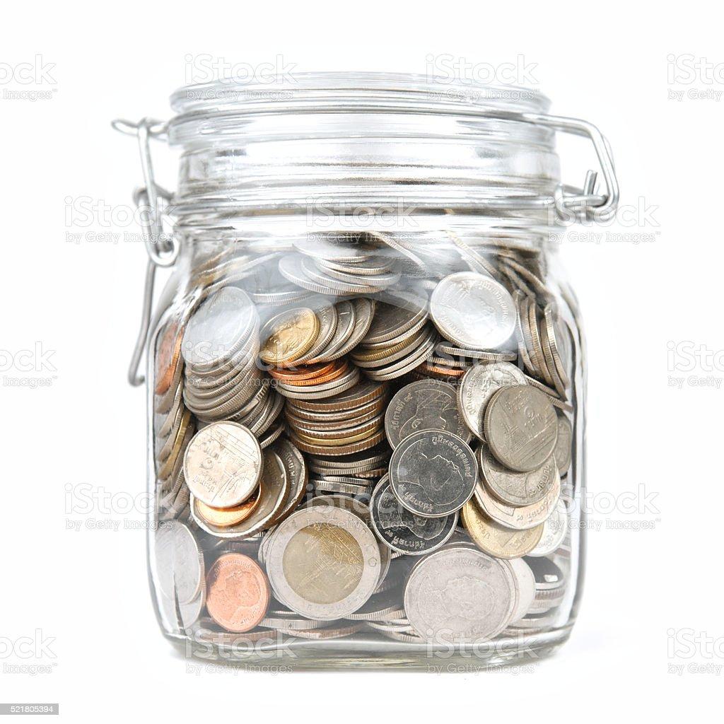 Money box coins stack thai baht isolated on white background stock photo