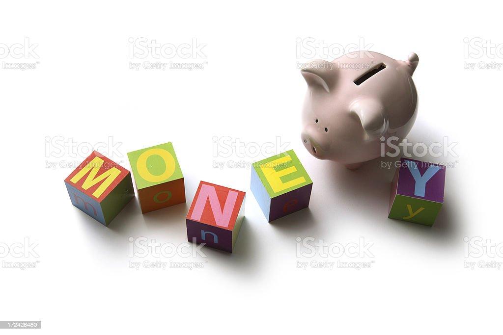 Money: Building Blocks Money with Piggy Bank royalty-free stock photo