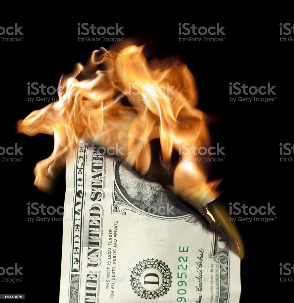 Money Burning stock photo