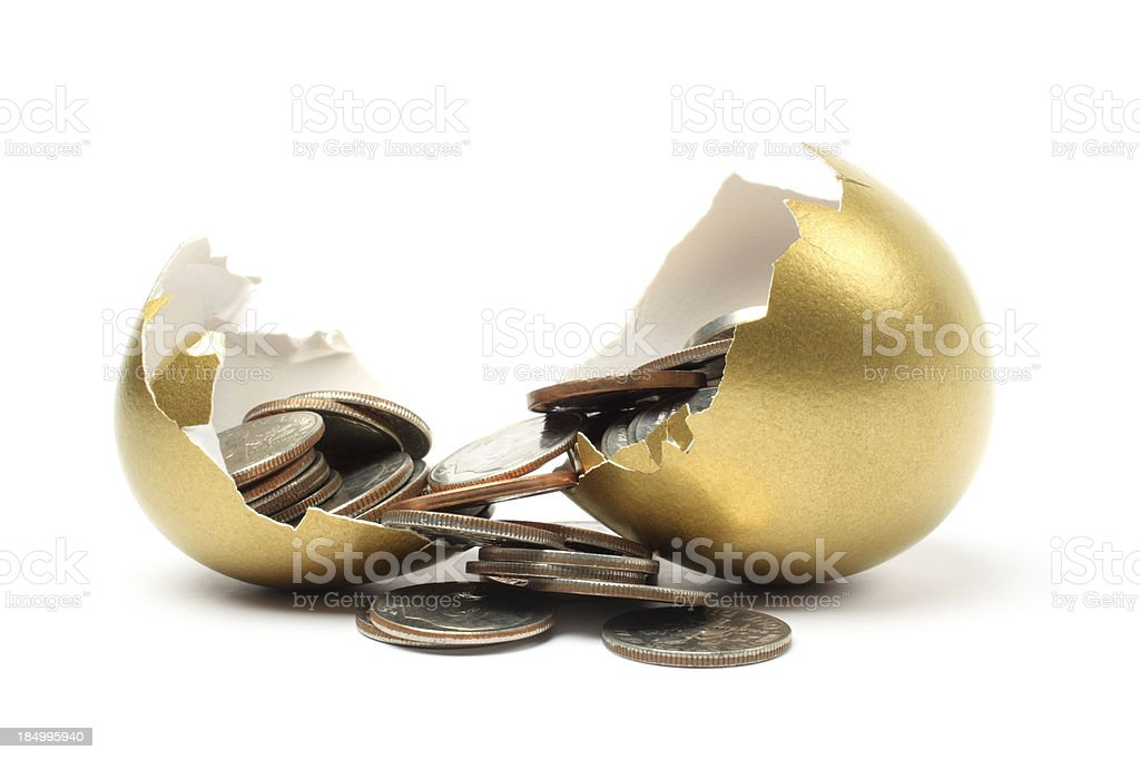 Money Came out from a Gold Egg on White Background stock photo