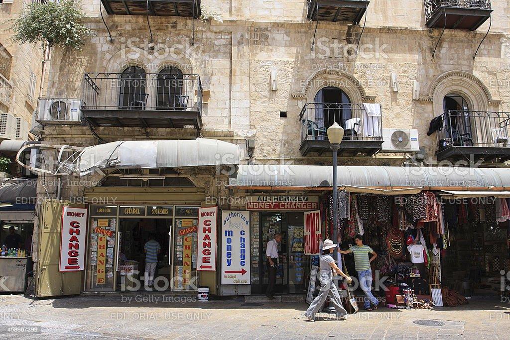 Money changer in Jerusalem royalty-free stock photo