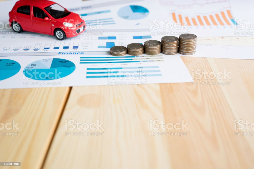 Money, chart and Red Car stock photo
