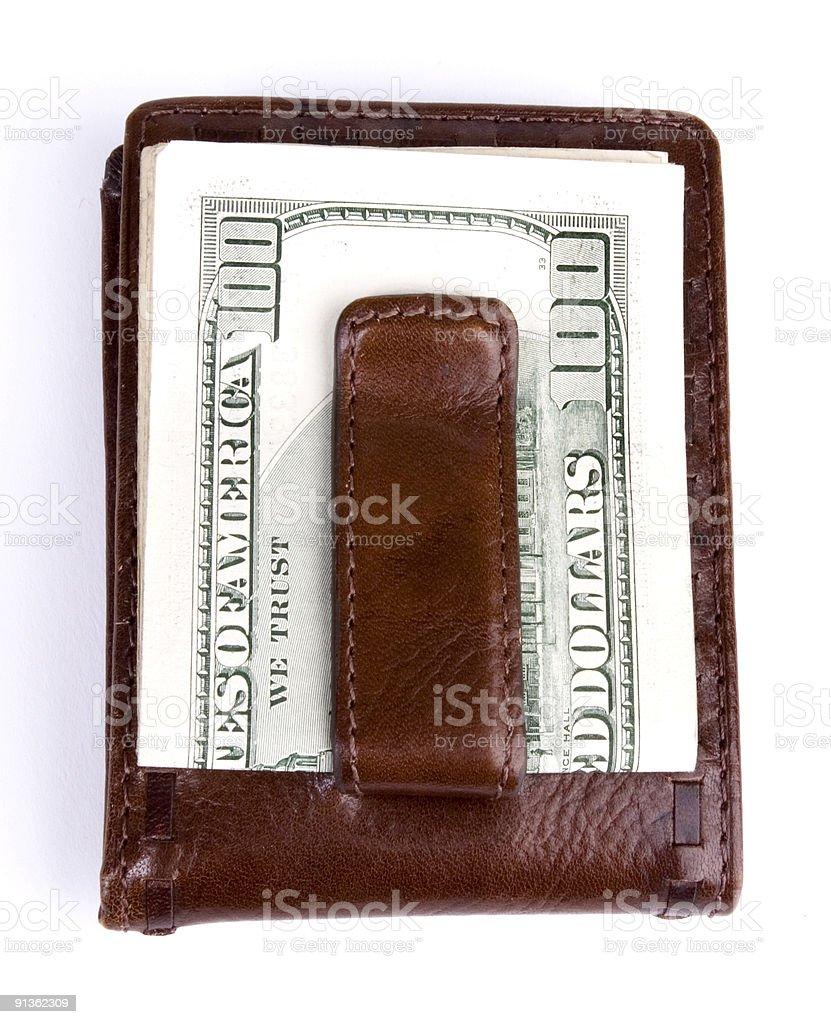 Money Clip with 100 dollar bill stock photo