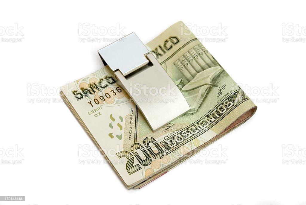 Money Clip with Mexican pesos stock photo
